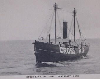 Light Ship, Cross Rip, Nantucket Post Card, H. Marshall Gardiner. Rare black & white.