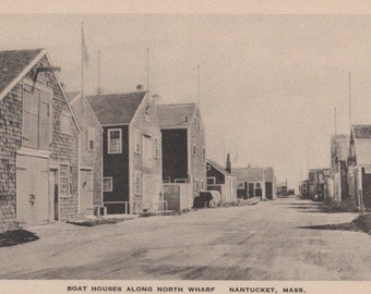 Boat Houses Along North Wharf, Nantucket post card. Gardiner black & white.