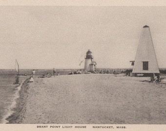 Brant Point Light House, Nantucket post card. Gardiner black & white