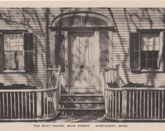 The Macy House, Nantucket post card. Gardiner, black & white.