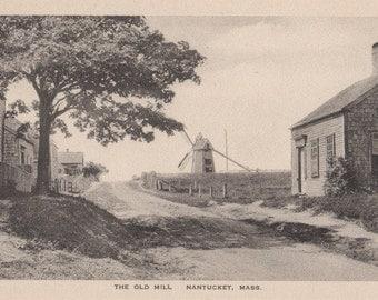 The Old Mill, Nantucket post card. Gardiner, black & white.