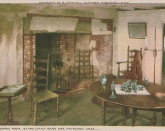 Jethro Coffin House 1686, Keeping Room, Nantucket postcard. Gardiner Nantuckrome