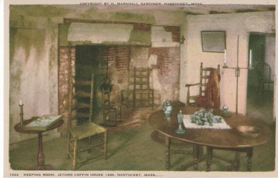 Jethro Coffin House 1686, Keeping Room, Nantucket postcard. Gardiner Nantuckrome