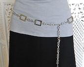 SALE-- 70s vintage shiny silver toned metal chain belt RETRO