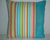 Girl's Clearance Pillow - Girls Decorative Accent Throw Pillow - Bold Stripe and Sequin with Bead Trim