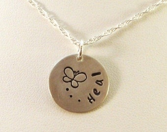 Heal Stamped Pendant Necklace in Sterling Silver