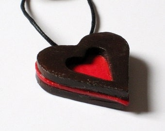 Unique heart necklace, Love is in the air, Friendship, red, Gift for her, for mom, romance, gift for couple