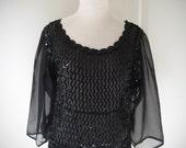 80s sheer black sequined top