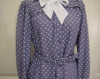 70s purple polka dotted Sears shirtdress