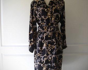 80s Maggy London silk dress