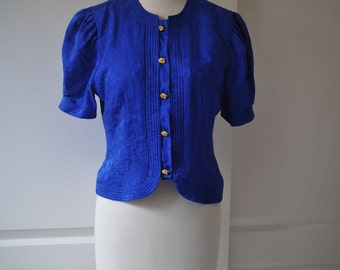 80s Maggy London blue silk blouse top