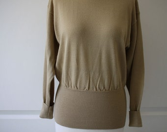80s Meister gold beige wool turtleneck sweater