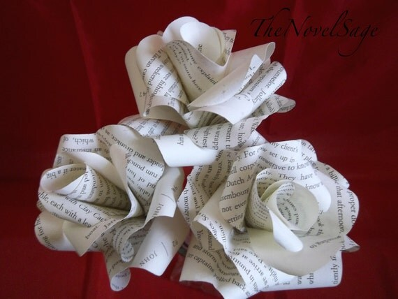 Ivory Amour- Small Bouquet of Salvaged Literature Paper Roses