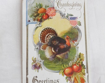 Patriotic Thanksgiving Turkey Vintage Postcard - Wartime Pride