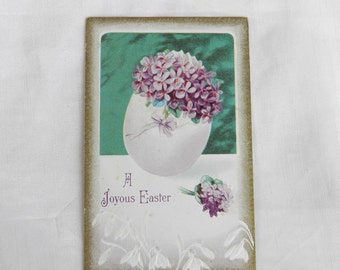 Easter Lilacs Bouquet in Eggshell Vase 1910's Postcard