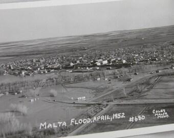 1952 Town Flood Postcard Malta, Montana
