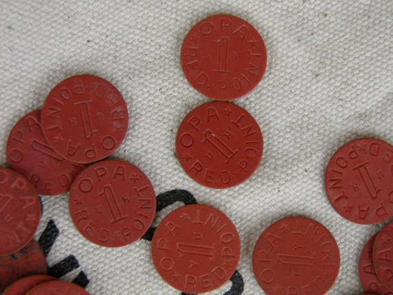 93 Red OPA Ration Coin Tokens from WWII