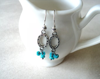 Natural Turquoise and Sterling Silver Earrings