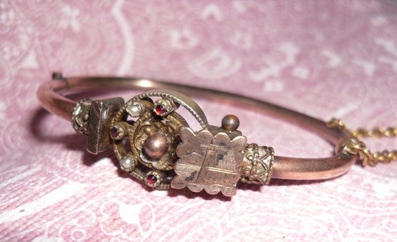 Antique Early 1900's Czech Hinged Bracelet with Seed Pearls and Garnets