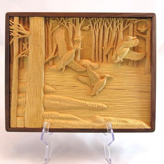 Relief Carving of Ducks in Flight  - Handmade Walnut Frame