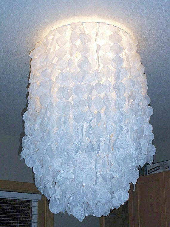 Hanging Chandelier ceiling light cover chandelier  wedding decor Cascading rose petal  light cover Mood setting very CHIC