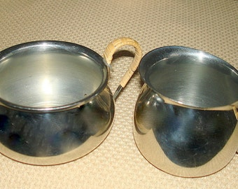 Danish Modern Creamer & Sugar Bowl Silver Tone (Could be Stainless or Silver Plate) Sugar  Woven Handles Smaller Size