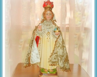 Infant of Prague Religious Statue Vintage Chalkware Handmade Cloth Lace Cape Beautiful Face Italian Made Religious Gift PRICE REDUCTION