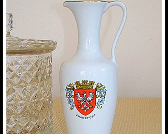 German Collectible Vase Pitcher Vintage Home Decor Souvenir Adaptation of Frankfurt Germany Crest Crafted of KPM Royal Porzellan (Porcelain