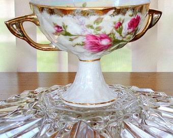 Decorative Pedestal Bowl  Fancy Porcelain Pearlized Smaller Size  Rose Floral Transfers