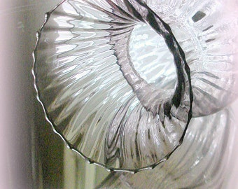 Lavender Glass Vase Vintage Ribbed Hourglass Shape Hand Blown Glass Handmade with a Quirky Tilt