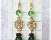 Green Dangle Earrings --- Gold Fern Charms ---  Botanical Look For the Great Outdoors Woman by zonkydonk