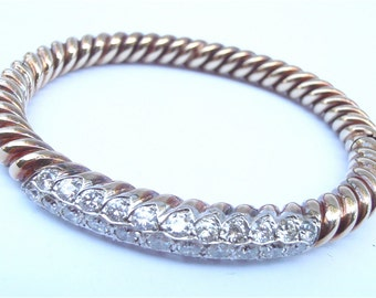 Vintage Diamond 14k Italian Gold Bangle Italian Yellow Gold Diamond Studded Spiral Bracelet Villacollezione