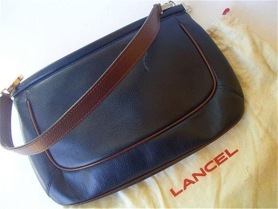 Vintage Lancel Bag Blue Leather Bag Lancel Clutch Purse Navy Blue Designer Bag Blue Pouchette Bag Blue Brown Handbag Vintage 90s Lancel