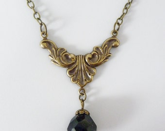 Vintage Necklace Divine Drop, czech fire polished black crystal with antiqued filigree connector