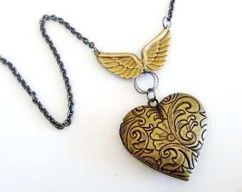 Heart Locket with Angel Wings, Vintage Chic Winged wonder in antiqued brass
