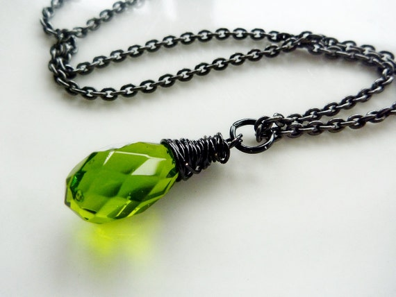 Peridot Green crystal hand wrapped with black