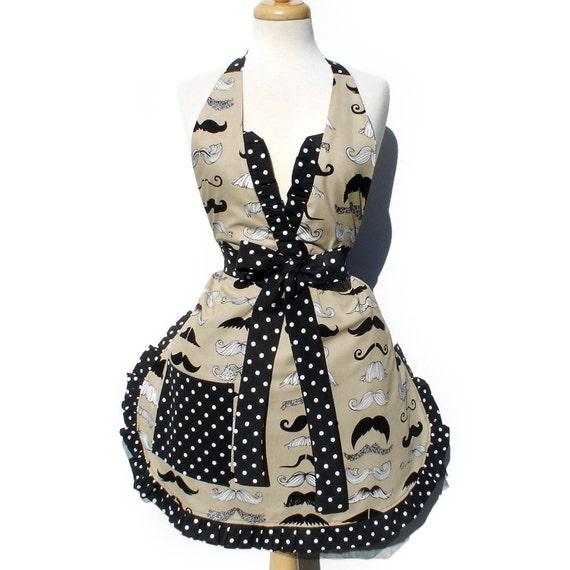 Free Shipping Apron Mustache Vintage Inspired Mustache Apron FREE SHIPPING