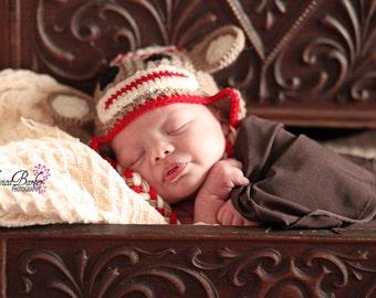 monkey newborn/ baby hat, photography props, newborn photo prop, newborn boy, newborn girl, newborn hat, knit newborn animal