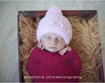 newborn hat, pink bonnet newborn/ baby hat with a satin bow, photography props, newborn photo prop, newborn girl prop, newborn knit hat