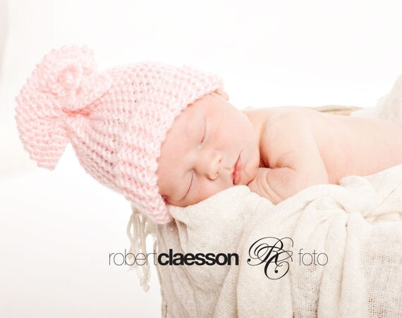 Pink knot newborn/ baby hat, photography props, newborn photo prop, newborn girl, newborn hat, baby hat, newborn props, newbor knit hats