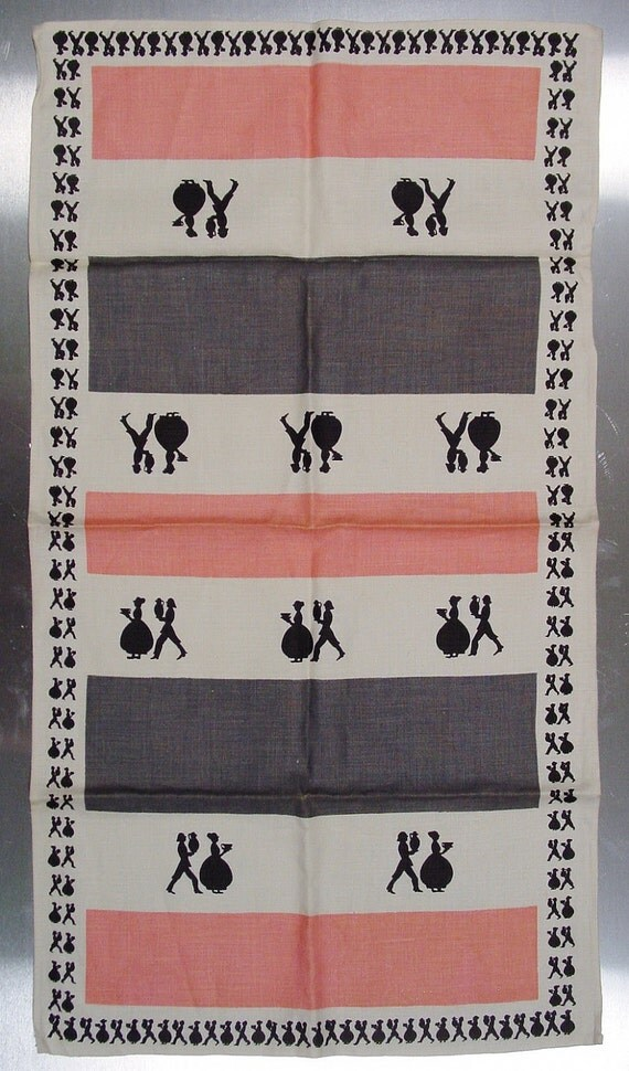 Mid Century Modern Linen Tea Towel, NOS 1950s Pink and Gray, Pure Linen - Unused, New Condition, Pink and Gray