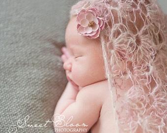 Pink Newborn Wrap Luxury Kid Lace Mohair PDF Pattern Crochet
