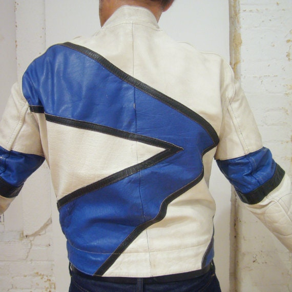 White Blue Leather Jacket Vintage 80s Motorcycle Jacket Street Racer Lightning Bolt Pro Sport Leathers Cafe Racer New Wave Glam Moto Jacket