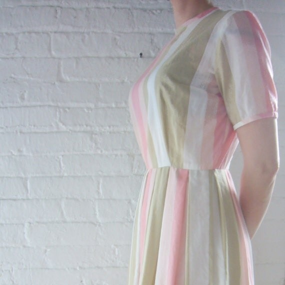 50s Cotton Fit Flare Day Dress Vintage 60s Pastel Pink Beige White Stripe Office Mod Small Spring Summer Pleats Full Skirt Jane Ann Dress
