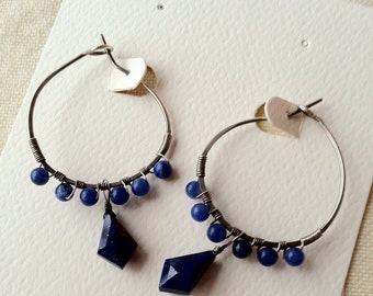 Lapis lazuli hoops - lapis lazuli beads with silver-filled wire