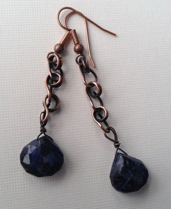 Handmade copper chain and sodalite bead earrings