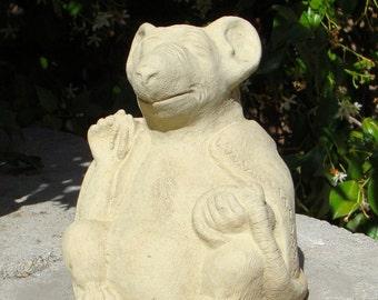 MEDIUM MEDITATING RAT Solid Stone Garden Buddha Animal Sculpture