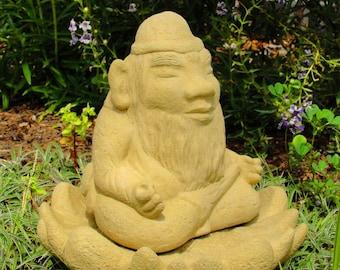 MEDIUM MEDITATING GNOME Solid Stone Original Outdoor Garden Statue Sculpture Figure Figurine Fairy Buddha Paperweight Doorstop Artwork (o)