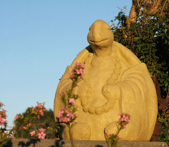 Stone LARGE MEDITATING TURTLE Sculpture - Solid Garden Buddha - Original Artwork (o)