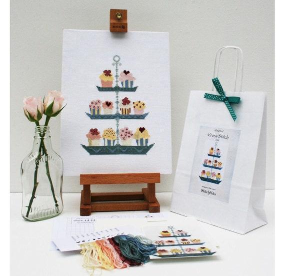 Cross Stitch Kit. Modern,Cup Cake Cross Stitch Design By Ruth Caig